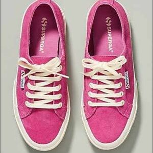 Anthropologie Superga bright suede shoes! 8.5